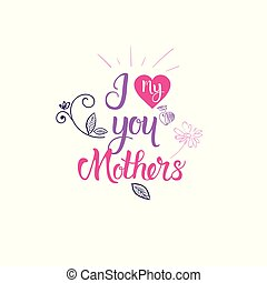 I Love Mother Hand Drawing Calligraphy Happy Women Day Badge Sketch Lettering On White Background