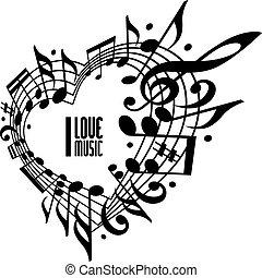 I love music concept, black and white design.