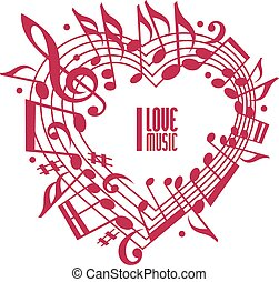 I love music concept, single color design. Heart made with...