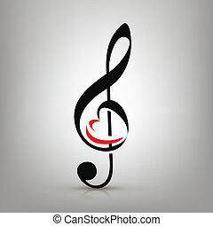 I love music concept, treble clef with an illustration of a heart-shaped
