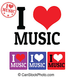 I love Music sign and labels