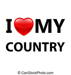 Logo Patriot - I Love My Country. Logo Patriot Red Heart on...