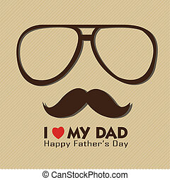 dad - I love my dad with abstract face on brown background