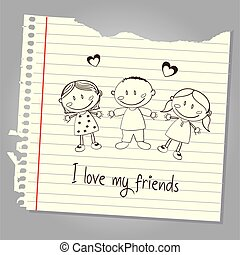 i love my friends over leaf notebook background vector ...