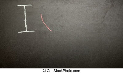 I love my mum message appearing drawn on blackboard with...