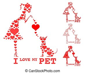 I love my pet. Girl and dog fill heart.