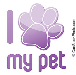 i love my pet illustration design