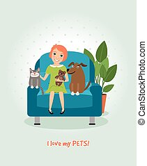I love my pets. Girl on armchair with dog and cat