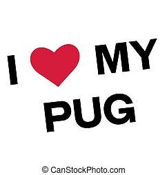 I love my pug flat color illustration