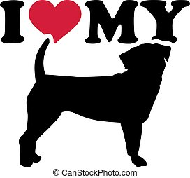 I love my Puggle with red heart and silhouette