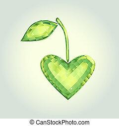 I love nature  - Crystal emblem in shape of emerald heart.