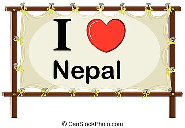 Nepal - I love Nepal banner with wooden frame