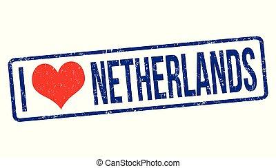 I love Netherlands grunge rubber stamp