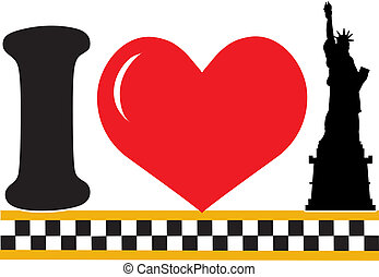 A design featuring a heart and the silhouette of the Statue of Liberty
