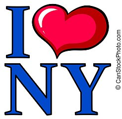 I love New York poster design with big heart