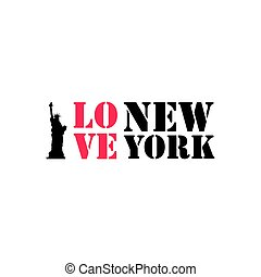 I love New York Typography vector lettering and Liberty statue vector design