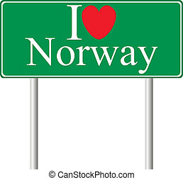 I love Norway, concept road sign