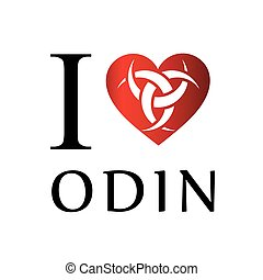 I love Odin- The graphic is a symbol of the horns of Odin, a...