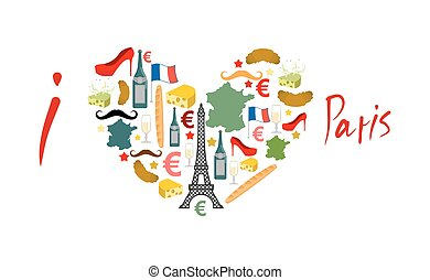 I Love Paris. Traditional French national set of icons in...