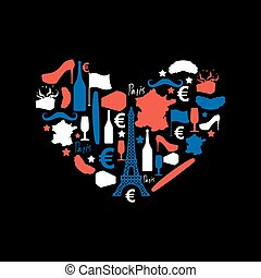 I Love Paris. Traditional French national set of icons in form of heart. Eiffel Tower and croissant. French flag and map. Wine and cheese. Fashion and baguette. Dorblu with mold and euro symbol. Traditional travel sign