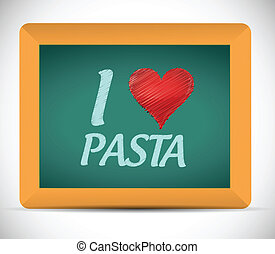 I love pasta written on a chalkboard. illustration design over a white background