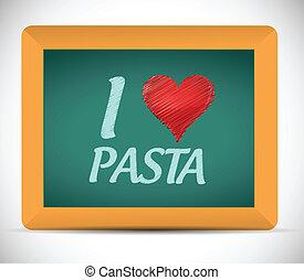 I love pasta written on a chalkboard. illustration design...