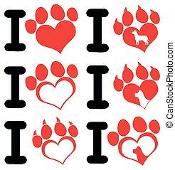 I Love Paw Print Logo Design 01. Collection Set