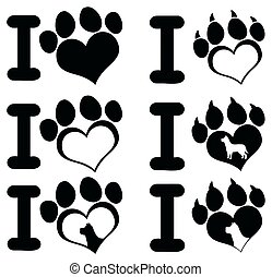 I Love Paw Print Logo Design 02. Collection Set