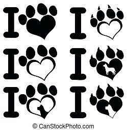 I Love Paw Print Logo Design 02. Collection Set