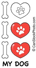 I Love Paw Print Logo Design 04. Collection Set