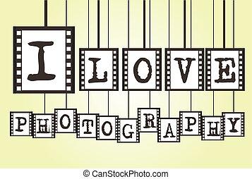 i love photography negative photo over yellow background. vector