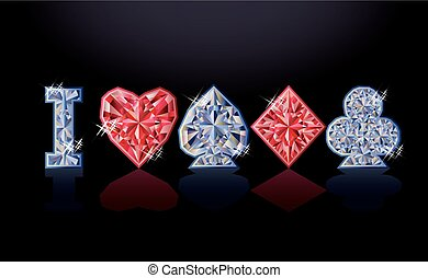 I love poker diamond banner, vector illustration