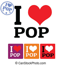 I love Pop sign and labels