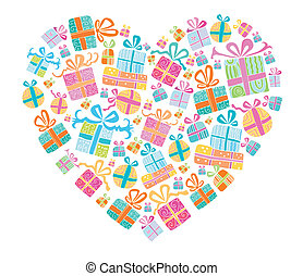 Different types of cute presents combined in a shape of a heart.