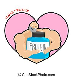 I love protein. Athlete and Sports Nutrition. Cute Bodybuilder. Lover sports nutrition. Fitness model and meals