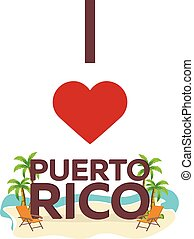 I love Puerto Rico. Travel. Palm, summer, lounge chair. Vector flat illustration.