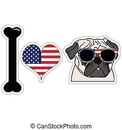 I love pug with american symbols