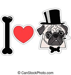 I love pugs old fashion gentleman with hat cigar and tie bow
