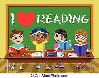 I love reading blackboard Happy kids children classroom