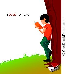 I love reading Illustration. Cartoon young boy reading a book