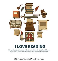 I love reading poster of literature vintage books