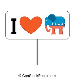 I love Republicans. Symbol of elephant and heart. Poster for elections in USA. Political debate in America. Patriotic emblem for United States
