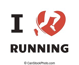 I love running, font type with heart runner icon. Sport background or template for your design. Logotype isolated on white backfround. White color is transparrent.