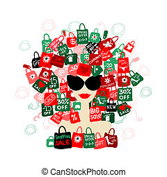 I love sale! Fashion woman portrait with shopping concept for your design