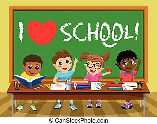 I love School blackboard Happy kids children classroom