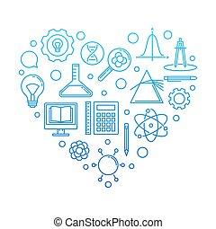 I Love School concept blue illustration on white background...