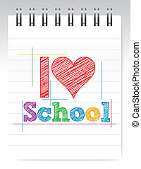 i love school sign illustration