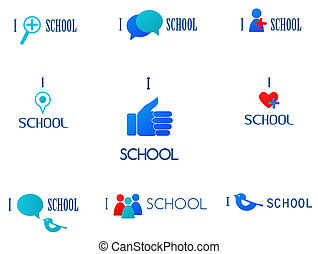 i love school, social network and media icons