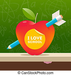 I love school - vector illustration with apple pierced by a pencil