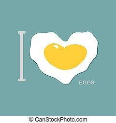 I love scrambled eggs. Scrambled eggs as a symbol of heart. Fried egg. Vector illustration.